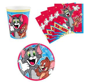 Tom and Jerry Birthday Party Supplies Plates Napkins Cups Set for 8 or 16 New