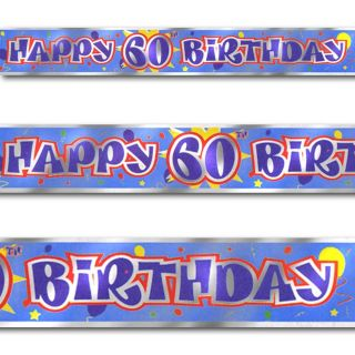 12ft Blue Happy 60th Birthday Party Foil Banner Decoration X6