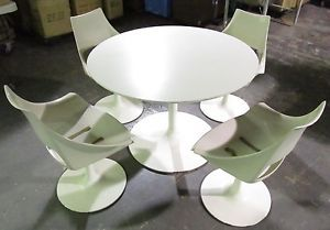 Vtg 60s Daystrom Space Age Modern Eggshell Tulip Table 4 Swivel Chairs