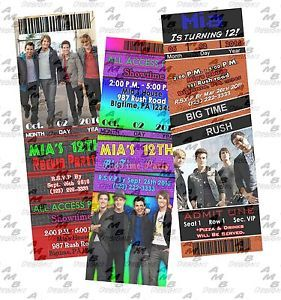 Big Time Rush Ticket Invitations Party Supplies Avail 15 Designs to Choose