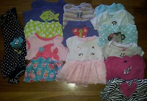 Big Lot of Baby Girls Size 12 Months Carters Play Clothes