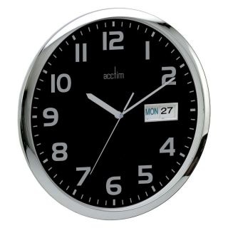 Acctim 21023 Supervisor Bold Quartz Office Kitchen Wall Clock Black Day Date