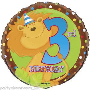 "18"" Cartoon Jungle Happy 3rd Birthday Party Animals Round Foil Balloon"