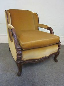 Vintage Carved Serpent Dolphin Carved Lounge Living Room Chair