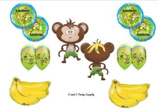 Monkey Go Bananas Happy Birthday Balloons Decorations Supplies Jungle Safari