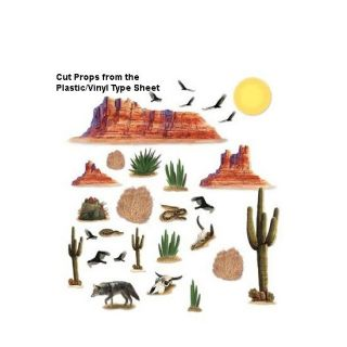 Western Desert Add on Props Scene Setters Decorations Cowboy Party Supply Wall