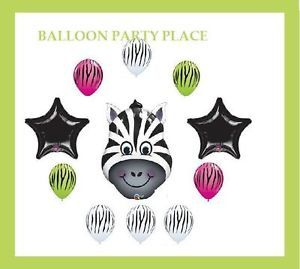 Zebra Jungle Black and White Zoo Birthday Party Supplies Decorations Lime Berry