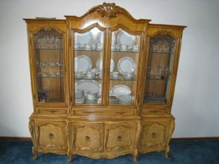 French Provincial Vintage Antique Dining Room Table China Cabinet and Chairs