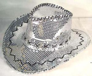 2 Sequin Silver Cowboy Hat Party Supply Western Hats Mens Womens Cowgirl New Cap