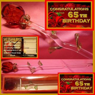 65th Birthday Red Rose Glass Congratulations Gift Keepsake Sixtyfive Present