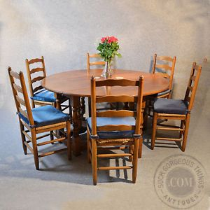 5' Oak Kitchen Dining Farmhouse Gateleg Round Table 6 Chairs Art Deco C1940