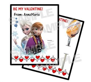 24 Disney Frozen Valentines Day Card Holds Lollipop Personalized