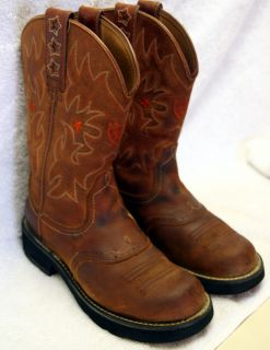Womens Size 7 Ariat Pro Baby Red Earth Cowboy Boot Stars 16709