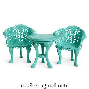 American Girl Marie Grace Cecile Doll Summer Courtyard Table Chairs Furniture