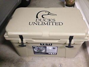 Yeti 45 Quart Tundra Ducks Unlimited Tan Cooler Camping Hunting Fishing New