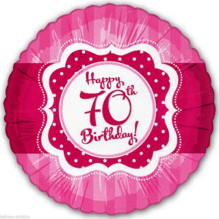 "18"" Classic Pink Style Happy 70th Birthday Party Round Foil Balloon"