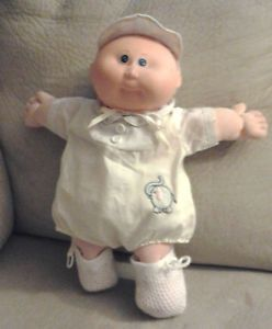 Cabbage Patch Kids Baby Doll 1984 1 Head Blue Eyes Bald Yellow Outfit Coleco