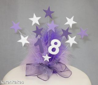 Purple Lilac White Star Birthday Cake Topper with Feathers 18th 21st 30th Etc