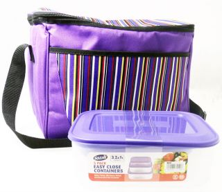 Large Lunch Picnic Cool Bag Free Set Plastic Food Storage Containers Boxes