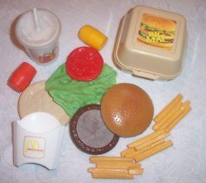 Fisher Price Fun with Food McDonald's Big Mac Burger Fries Coke Drink Play Food
