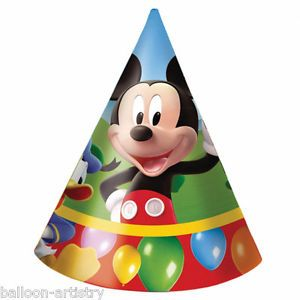 6 Disney Mickey Mouse Clubhouse Balloons Birthday Paper Party Cone Hats