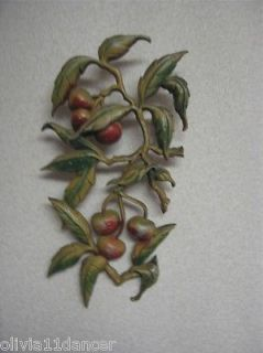 Vtg Pair Sexton Metal Kitchen Wall Hanging Decor 60's Apples Cherries Country