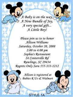 Mickey Minnie Daisy Duck Baby Shower Invitations