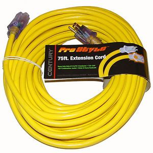 75ft Heavy Duty Electric Extension Power Cord 12 Gauge Cable Indoor Outdoor Yel
