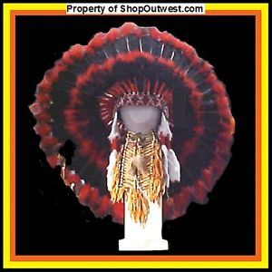 "Native American Navajo 36"" War Bonnet Headdress ""Blackhawk"" Red Black Feathers"