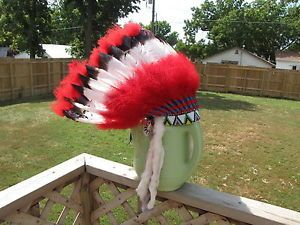 Native American Indian Beaded Fur Feathers Headdress War Bonnet Costume