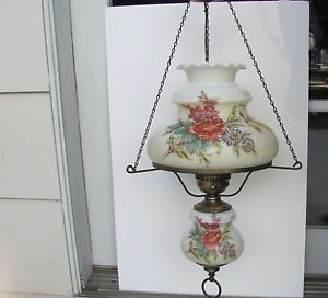 Vintage Hurricane Lamp Hanging 2 Globes Large White Milk Glass Floral Flowers