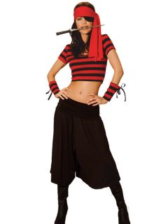 Sexy Pirate Costume Size M L Pants Shirt Arm Bands Head Scarf Eye Patch Dagger