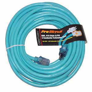 50 ft 10 Gauge Industrial Electric Extension Power Cord Electrical Cable Blue
