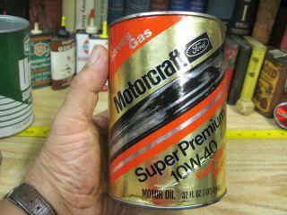 Motorcraft Ford Script Motor Oil Quart Can Tin Paper Gas Filling Station