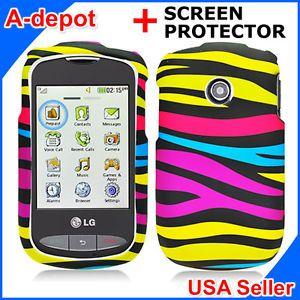 Tracfone LG 800G Net10 Rainbow Zebra Hard Case Cover Screen Protector