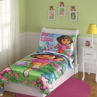 Dora 4pc Toddler Bedding Set Girls Bed Comforter Sheets