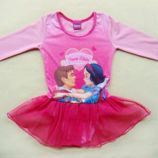 Disney Snow White Girl Ballet Dance Leotard Gym Dress Skate Tutu Skirt Sz 4 5 6Y