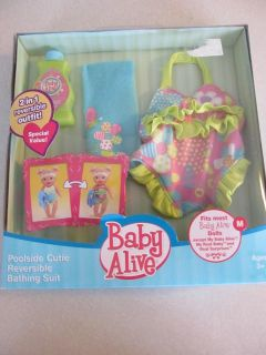 Hasbro Baby Alive Poolside Cutie Reversible Bathing Suit Clothes Outfits Set