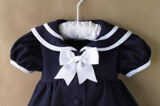 Infant Toddler Girl Clothes Navy Blue Sailor Dress Real Baby Reborn Dolls 12 M