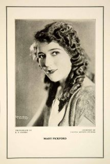 1927 Print Mary Pickford Silent Film Actress Movie Star United Artists Portrait