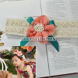 Cute Mint Orange Baby Girls Hair Band Sets Elasticity Headband Lace Flower