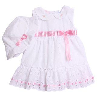 BT Kids Newborn Baby Girls 3 Piece White Pink Eyelet Dress Bloomers Sun Hat Set