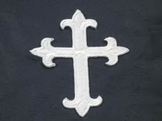 Christian White Cross Embroidered Iron on Patch 3 Inch
