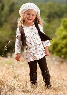 Girls Kid Fake Two Piece Set Top Dress Legging Pants Outfit Baby Clothing Sz 2 6