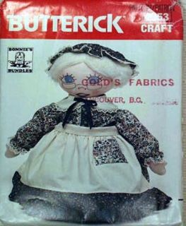 """Sewing Pattern Sweet Granny Cloth Rag Doll 22"""" Clothes"""
