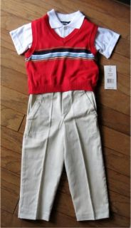 Boys Suit Shirt Pants Sweater Vest Toddler 3T 4T