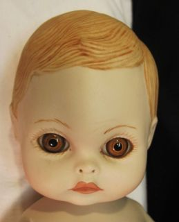 Teena Halbig Porcelain Bisque Baby Doll LG Brown Glass Eyes