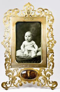 "Unique Antique French Dore Bronze Photo Frame w Hair Locket ""Henry"" Dated 1887"