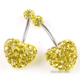 1 3pcs Heart Love Navel Belly Button Bar Ring CZ Crystal Body Piercing Hot C8481