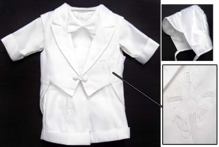 Boy Baptism Christening White Tuxedo Shorts XS s M L XL